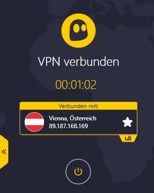 CyberGhost VPN Verbindung Österreich