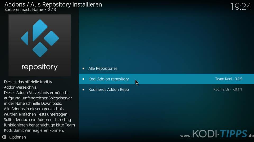 Offizielles Kodi Repository auswählen - Kodi Addons