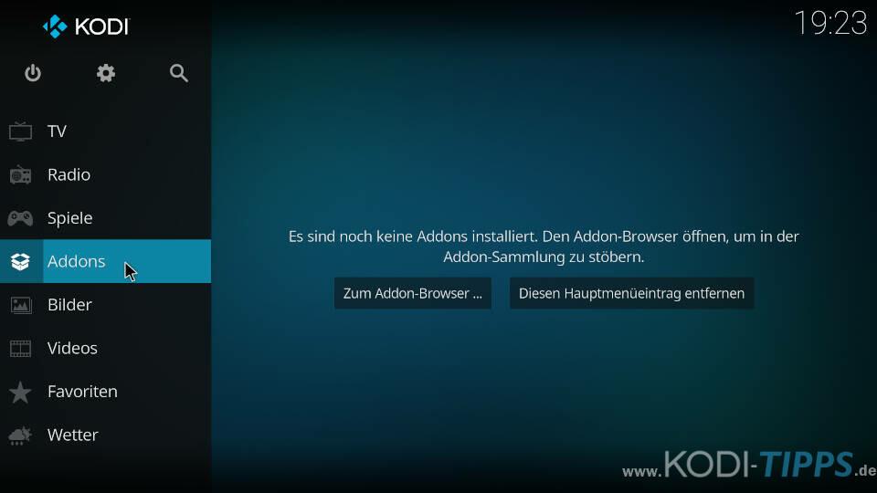 Kodi Startseite - Menüpunkt Addons auswählen