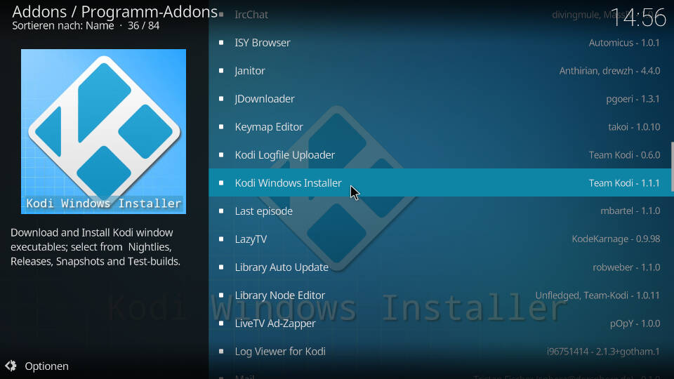 Kodi Windows Installer Addon im offiziellen Kodi Repository