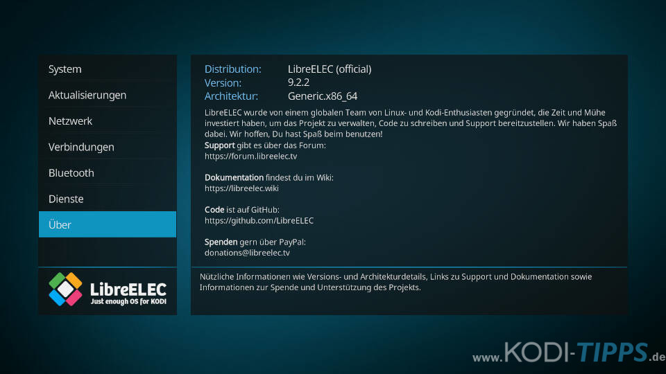 LibreELEC aktualisieren - Schritt 2