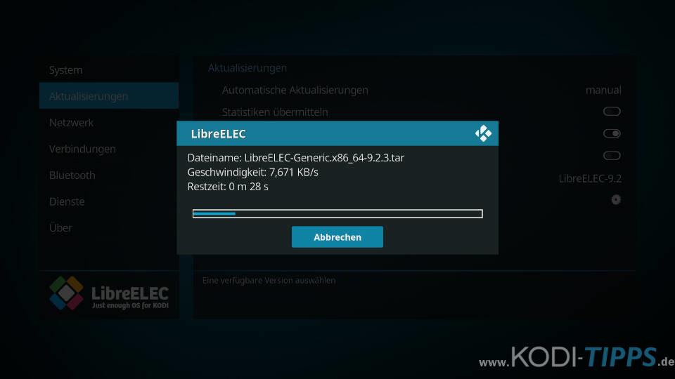 LibreELEC aktualisieren - Schritt 9