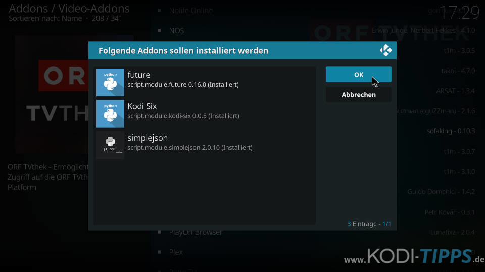 ORF TVthek Kodi Addon installieren - Schritt 4