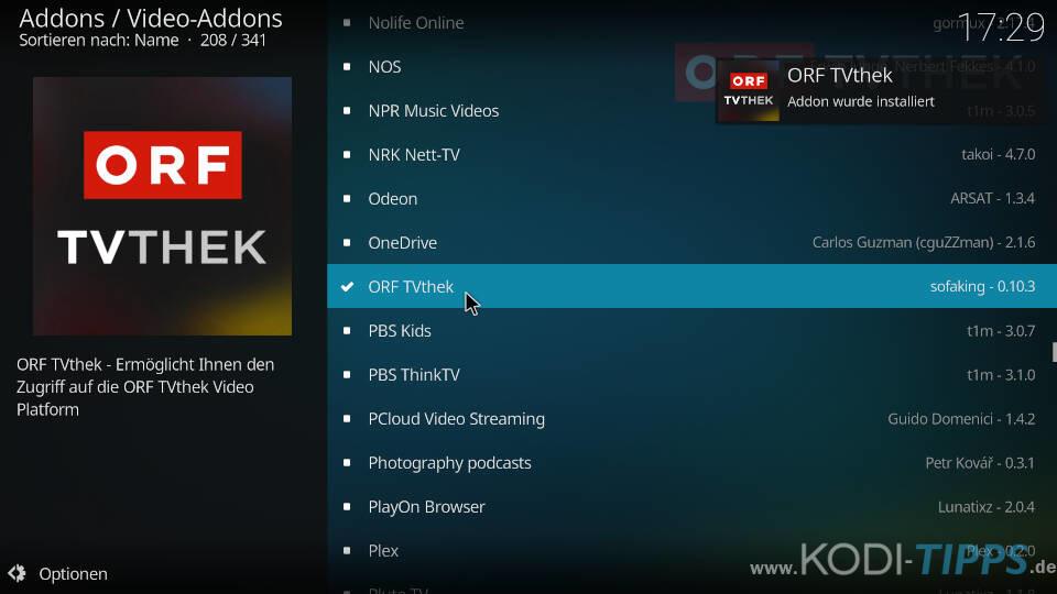 ORF TVthek Kodi Addon installieren - Schritt 5