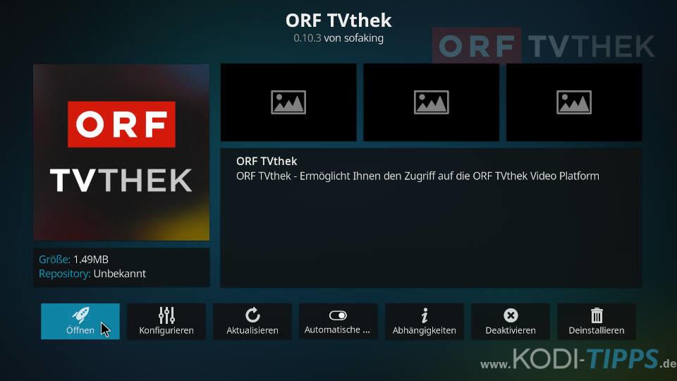 ORF TVthek Kodi Addon installieren - Schritt 6