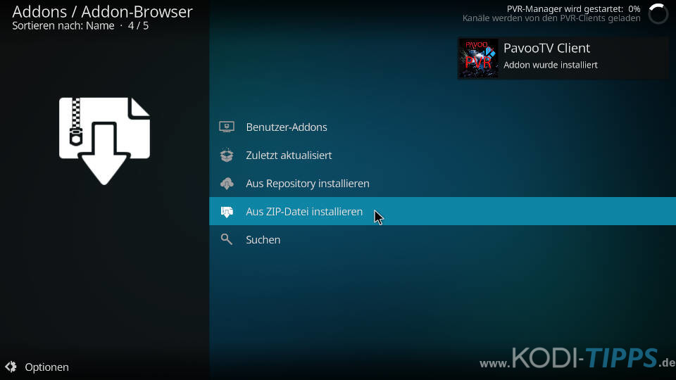 Pavoo TV PVR Client installieren - Schritt 4