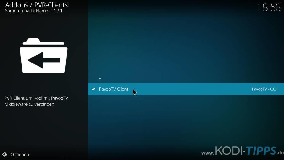 Pavoo TV PVR Client Zugang wechseln - Schritt 2