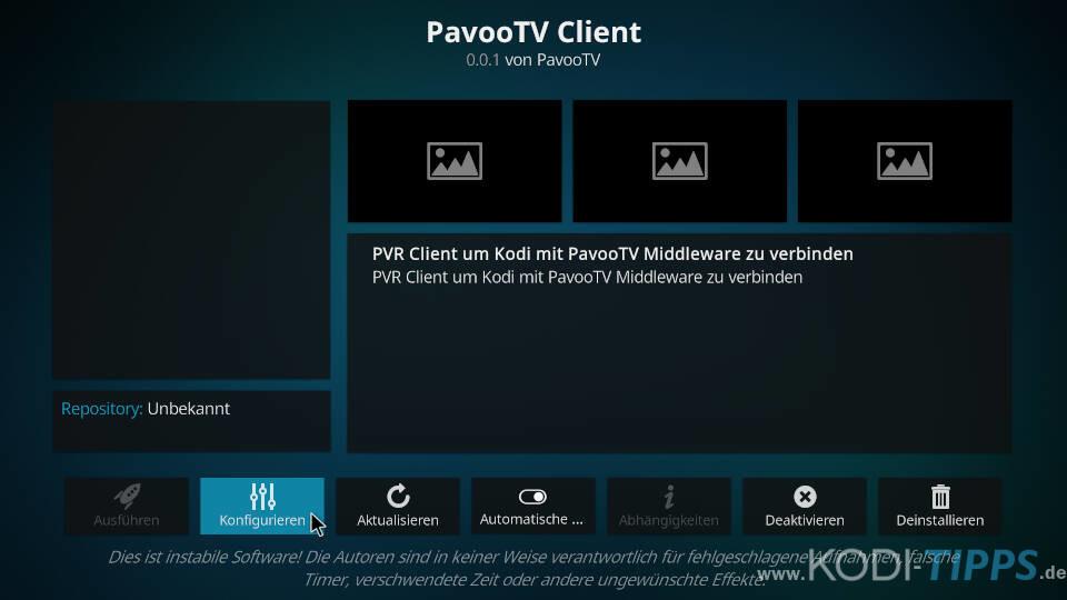 Pavoo TV PVR Client Zugang wechseln - Schritt 3