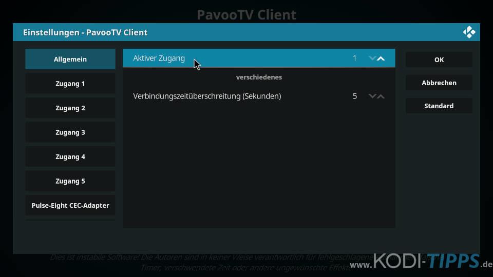 Pavoo TV PVR Client Zugang wechseln - Schritt 4