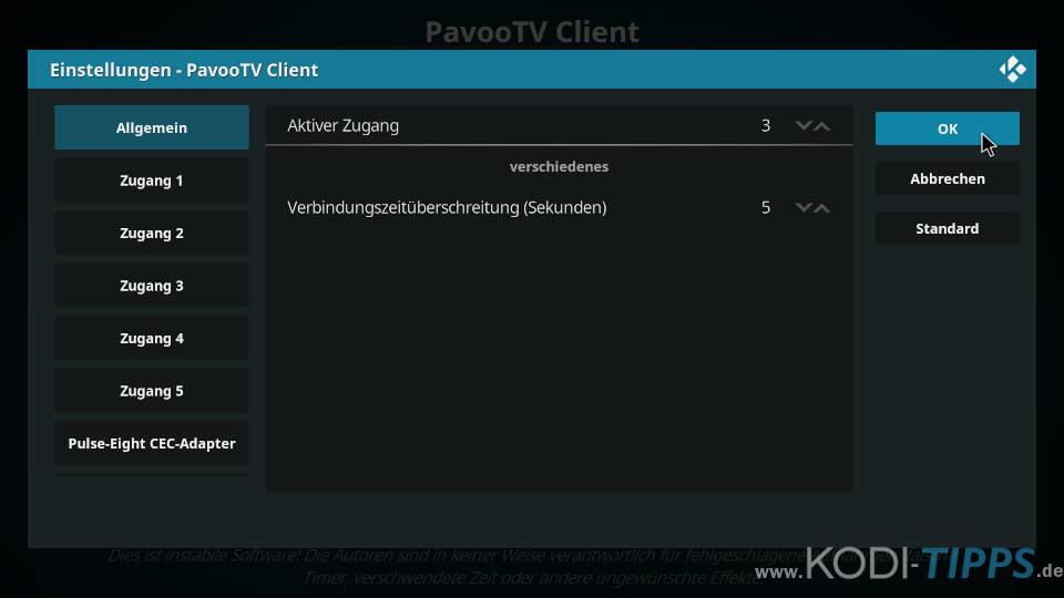 Pavoo TV PVR Client Zugang wechseln - Schritt 5