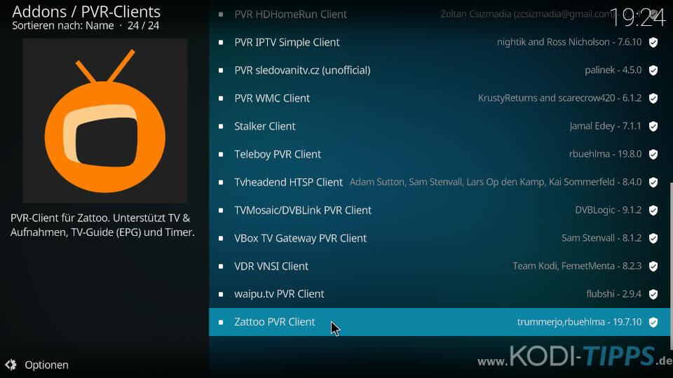 Zattoo PVR Client installieren und einrichten - Schritt 2