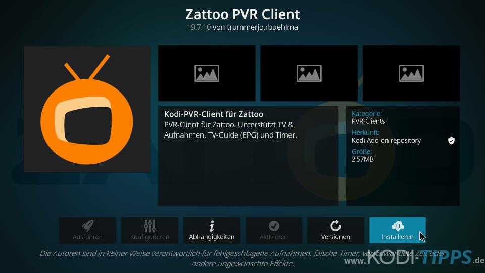 Zattoo PVR Client installieren und einrichten - Schritt 3