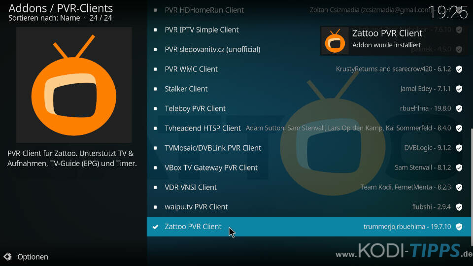 Zattoo PVR Client installieren und einrichten - Schritt 4