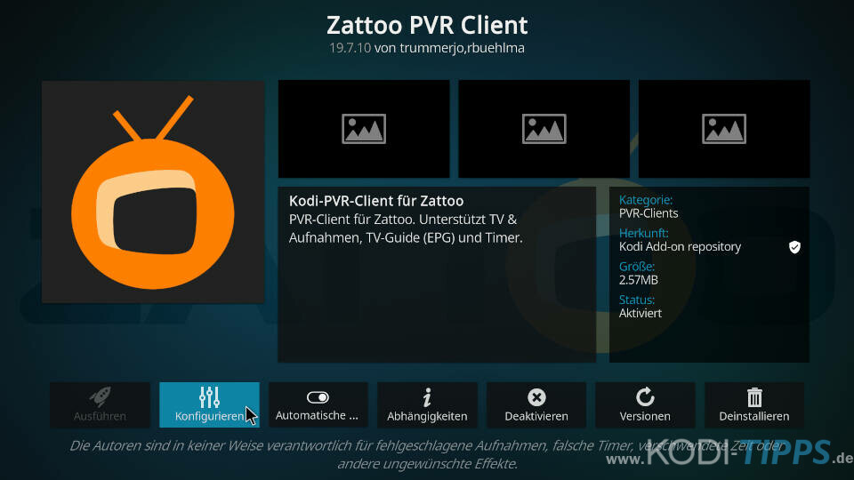 Zattoo PVR Client installieren und einrichten - Schritt 5