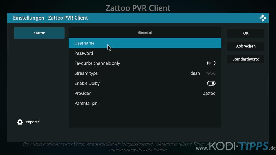 Zattoo PVR Client installieren und einrichten - Schritt 6