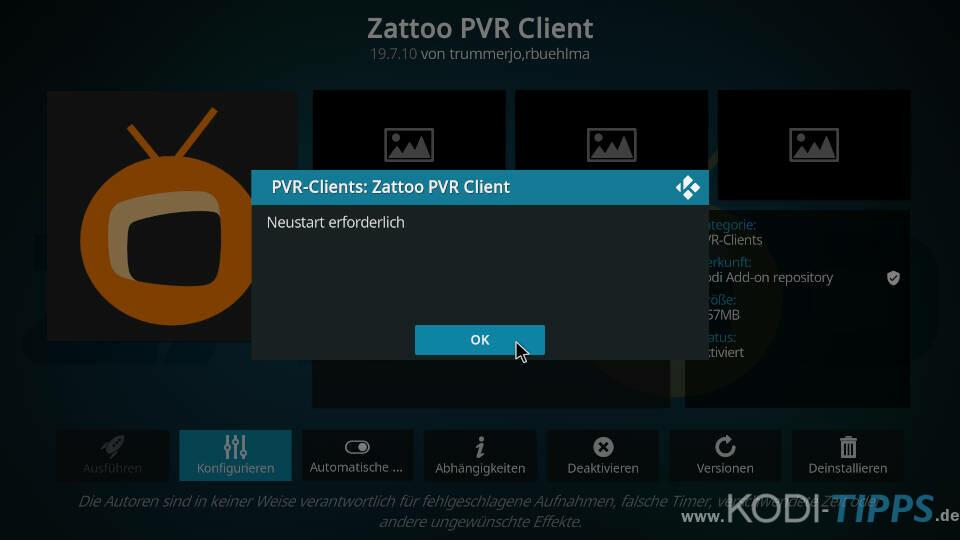 Zattoo PVR Client installieren und einrichten - Schritt 7