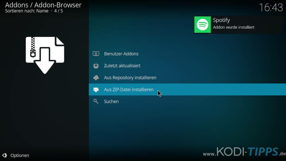 Spotify Kodi Addon installieren - Schritt 2