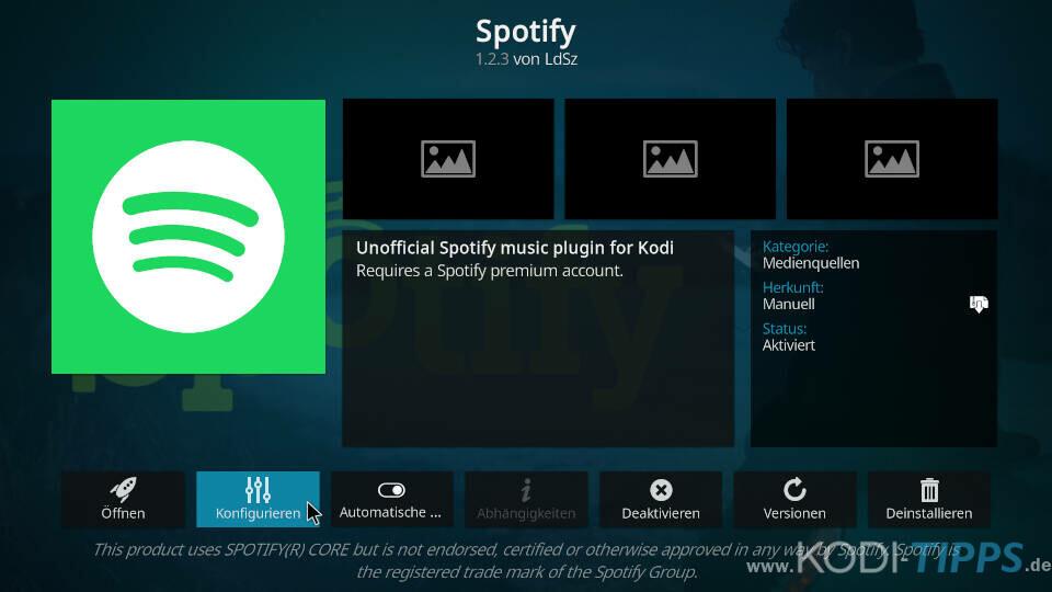 Spotify Kodi Addon installieren - Schritt 6