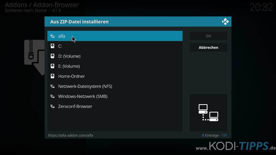 Alfa Kodi Addon installieren - Schritt 1