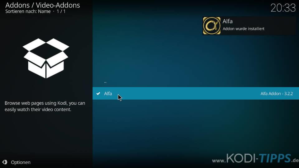 Alfa Kodi Addon installieren - Schritt 10
