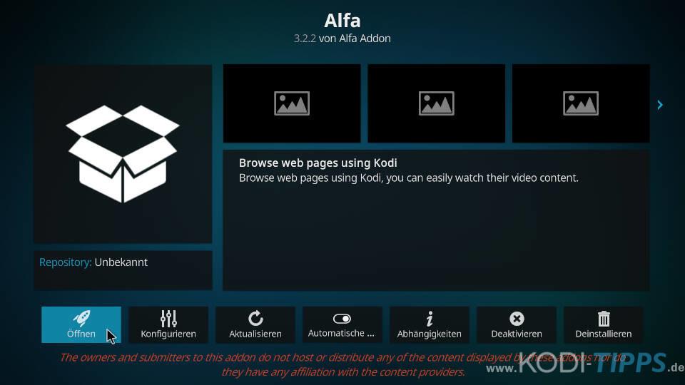 Alfa Kodi Addon installieren - Schritt 11