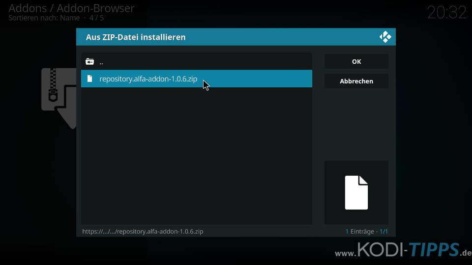 Alfa Kodi Addon installieren - Schritt 2