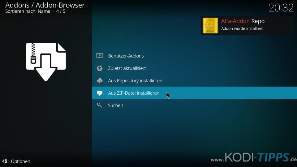 Alfa Kodi Addon installieren - Schritt 3