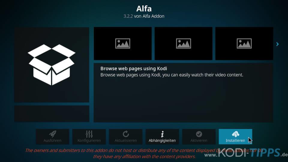 Alfa Kodi Addon installieren - Schritt 8