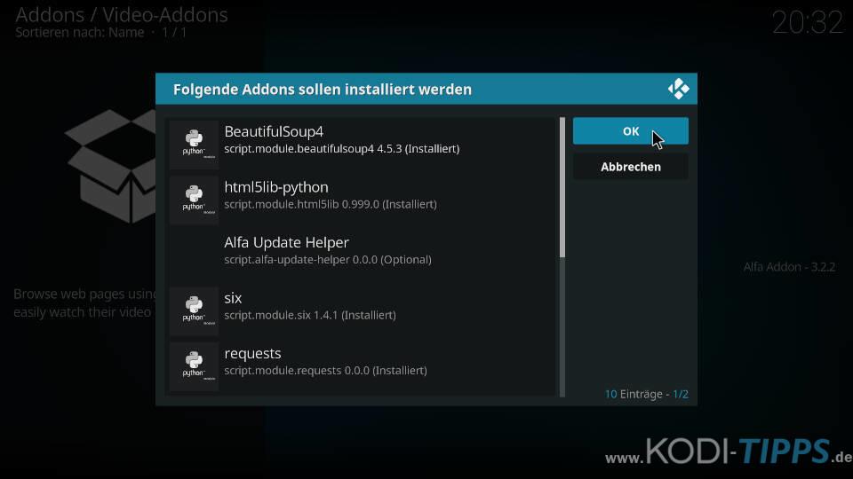 Alfa Kodi Addon installieren - Schritt 9