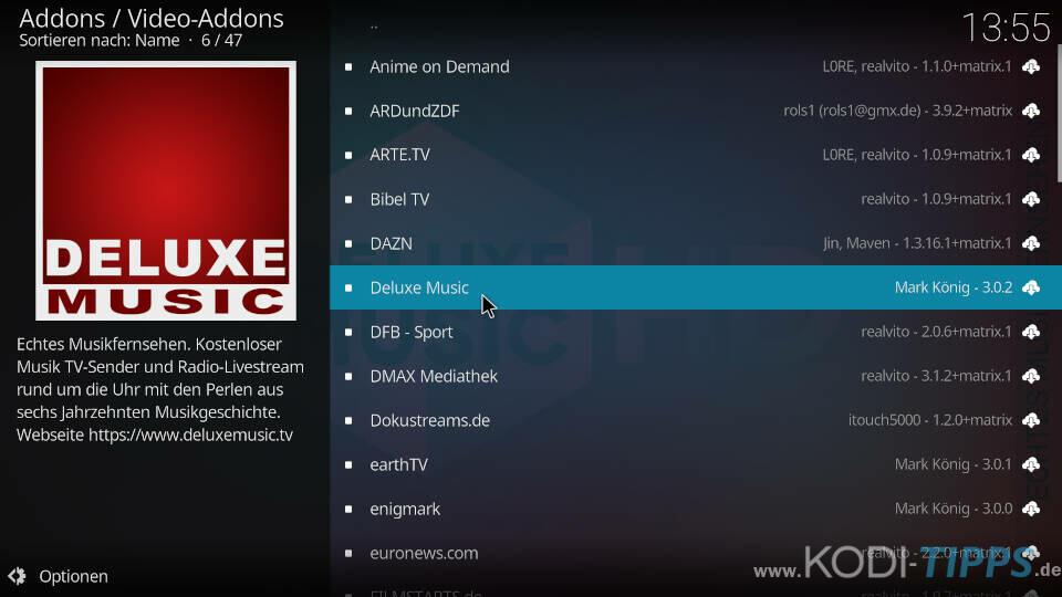 Deluxe Music Kodi Addon installieren - Schritt 2