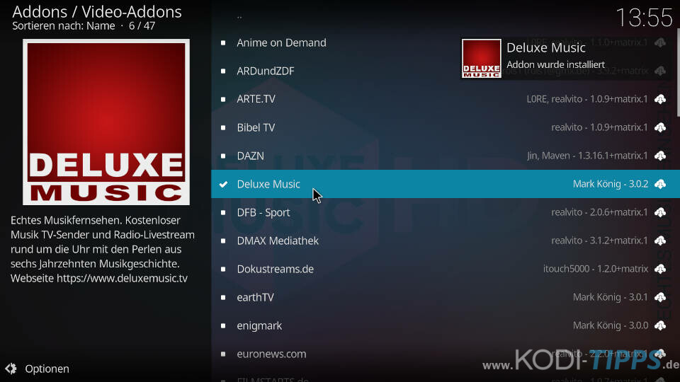 Deluxe Music Kodi Addon installieren - Schritt 4