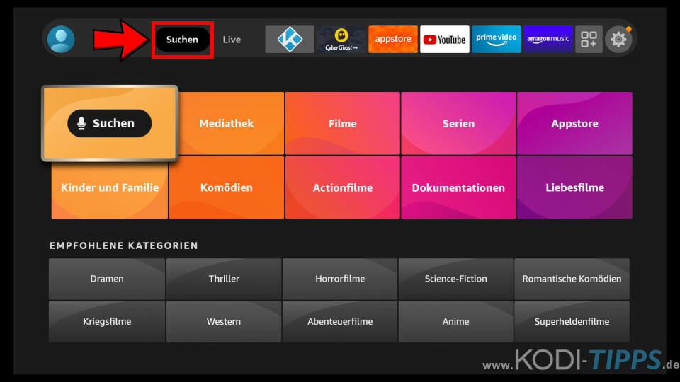 Downloader App für Amazon Fire TV installieren - Schritt 1