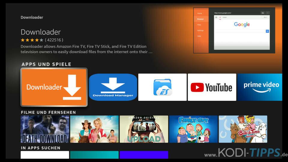 Downloader App für Amazon Fire TV installieren - Schritt 3