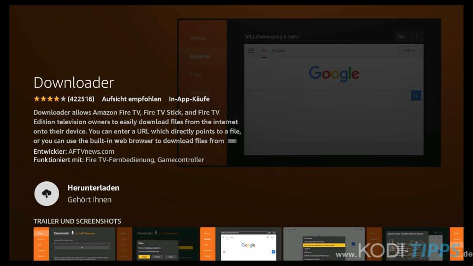 Downloader App für Amazon Fire TV installieren - Schritt 4