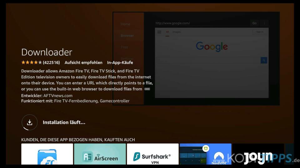 Downloader App für Amazon Fire TV installieren - Schritt 5