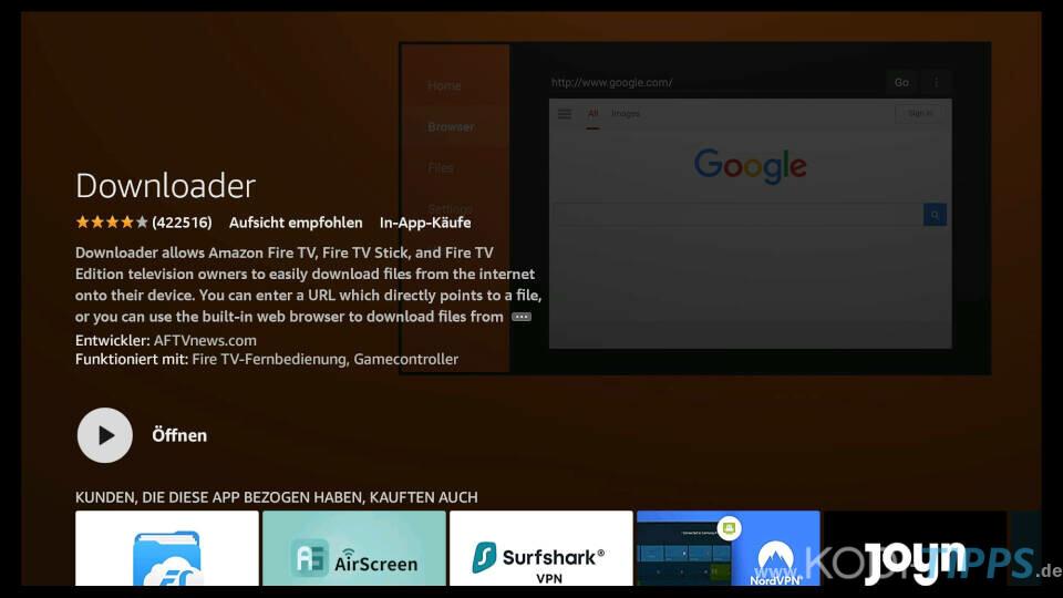 Downloader App für Amazon Fire TV installieren - Schritt 6