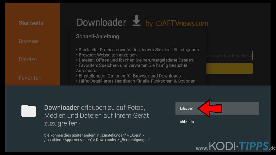 Downloader App für Amazon Fire TV installieren - Schritt 7