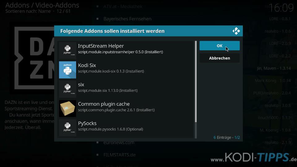DAZN Kodi Addon installieren - Schritt 5