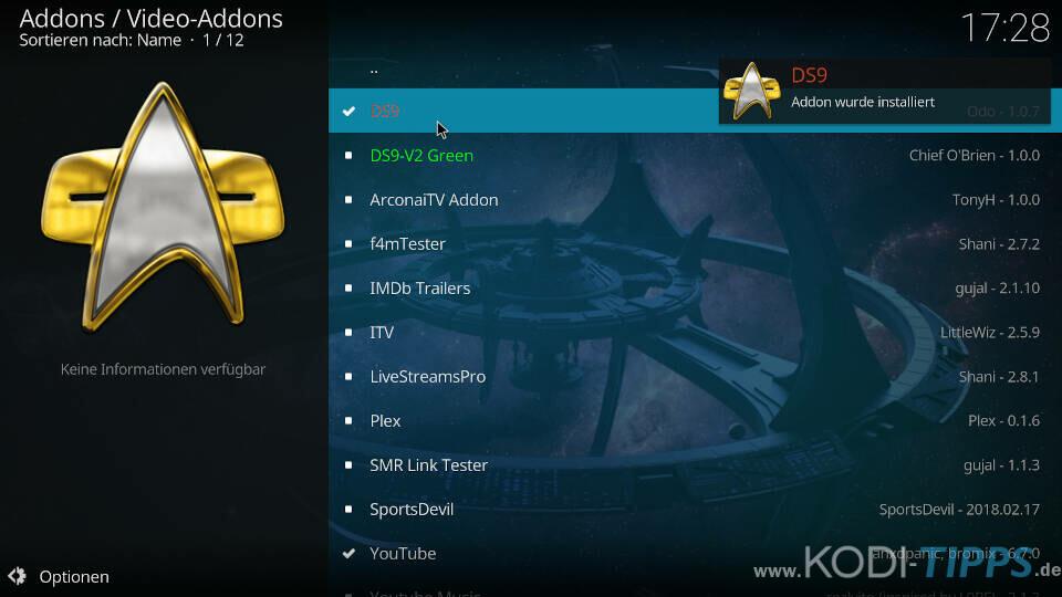 DS9 Kodi Addon installieren - Schritt 10