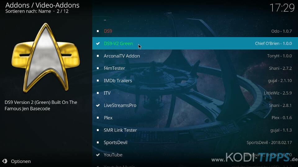 DS9 V2 Green Kodi Addon installieren - Schritt 1
