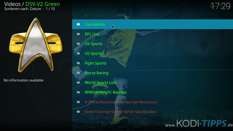 DS9 V2 Green Kodi Addon installieren - Schritt 2
