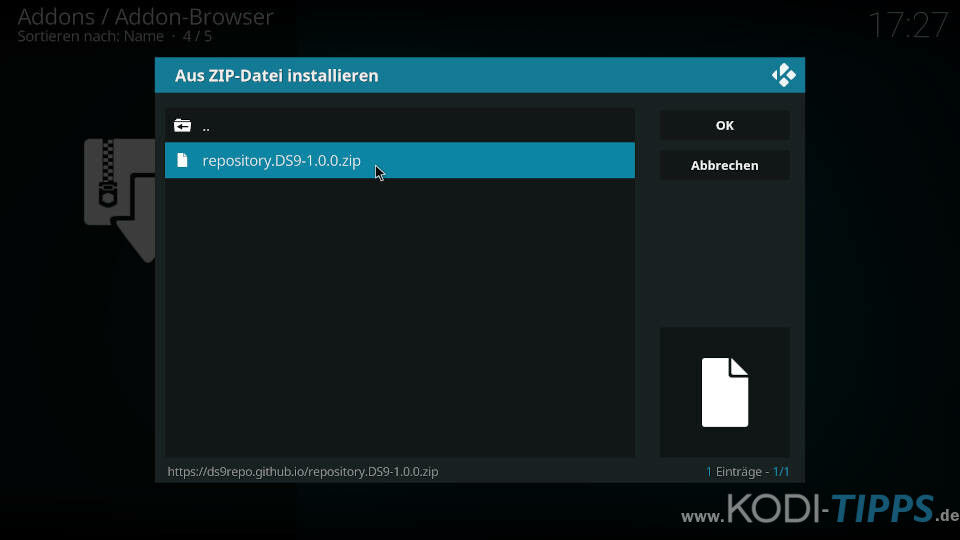 DS9 Kodi Addon installieren - Schritt 2