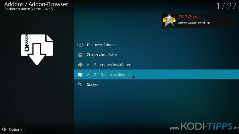 DS9 Kodi Addon installieren - Schritt 3