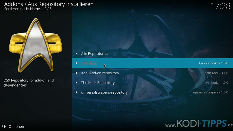 DS9 Kodi Addon installieren - Schritt 5