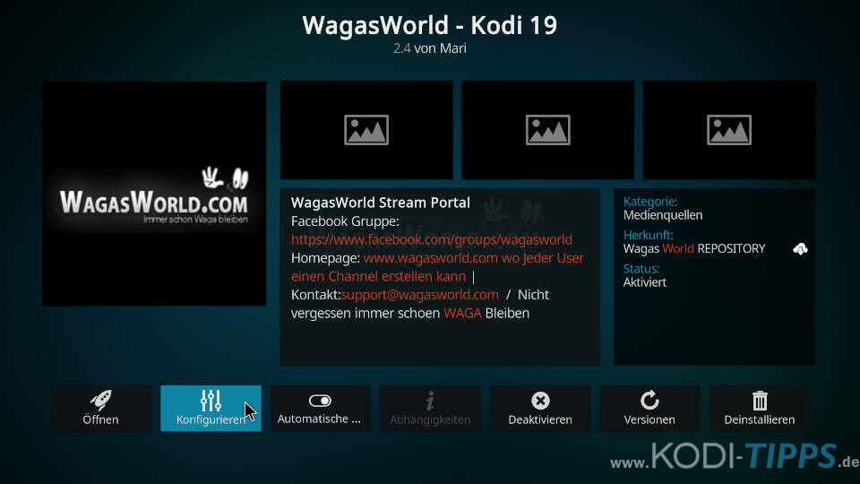WagasWorld Kodi Addon installieren - Schritt 10