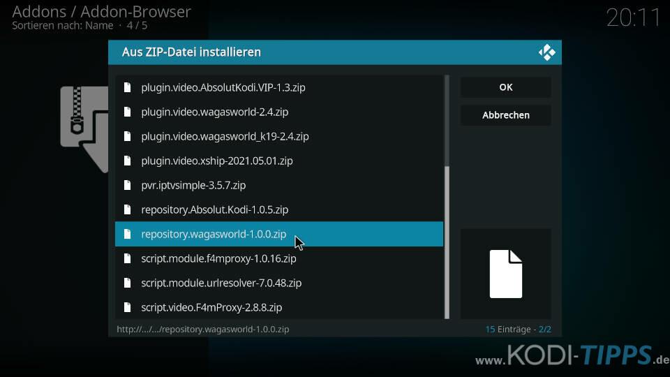 WagasWorld Kodi Addon installieren - Schritt 2