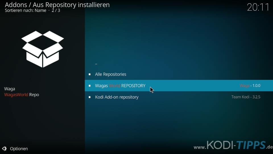 WagasWorld Kodi Addon installieren - Schritt 5