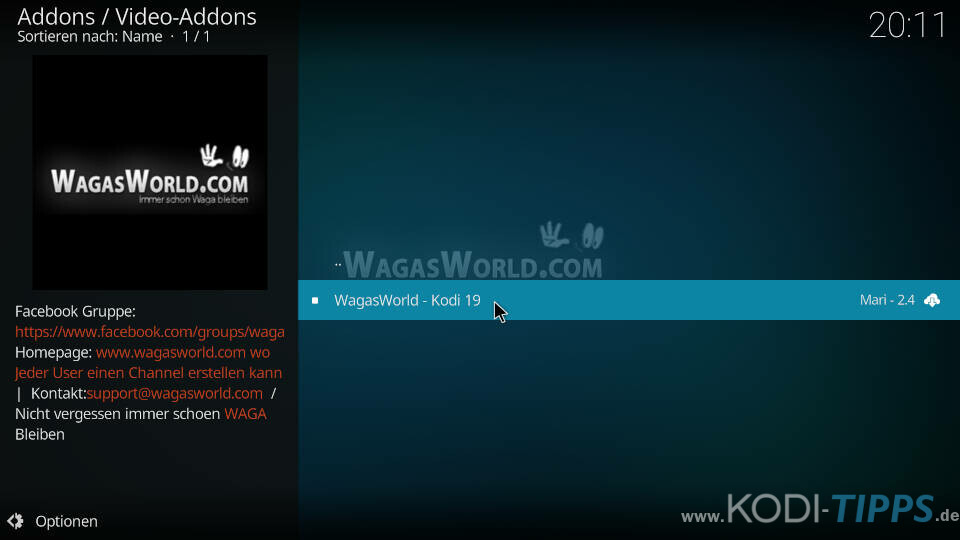 WagasWorld Kodi Addon installieren - Schritt 7