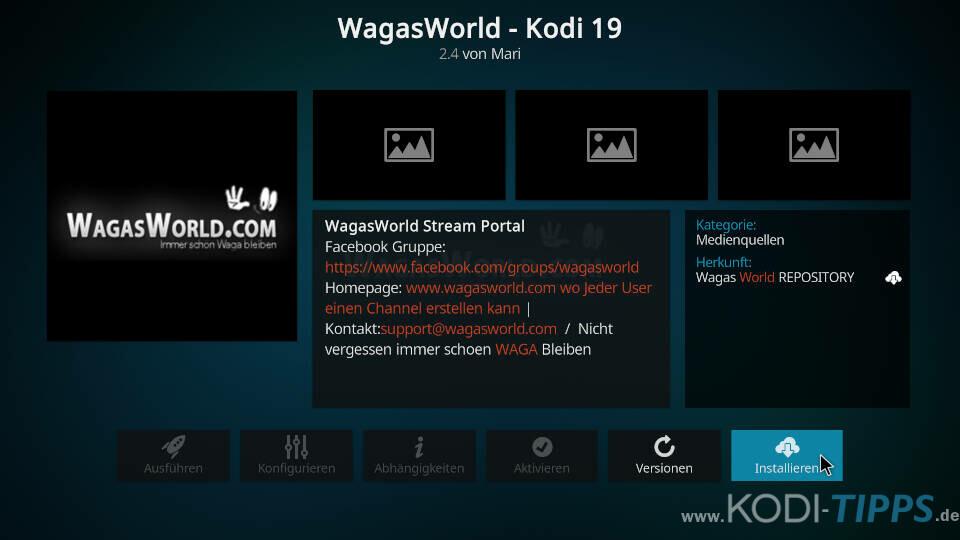 WagasWorld Kodi Addon installieren - Schritt 8
