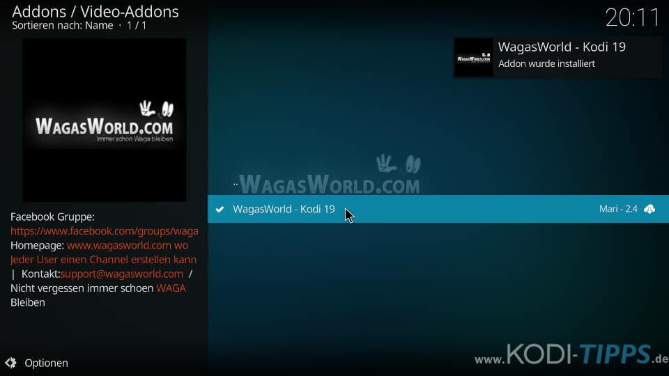 WagasWorld Kodi Addon installieren - Schritt 9